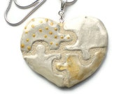 Puzzle Piece Heart Necklace Silver and Gold Clay REVERSIBLE