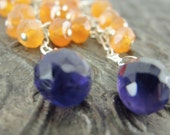 Carnelian and Amethyst Cluster Cascade Earrings by Screaming Peacock Jewelry