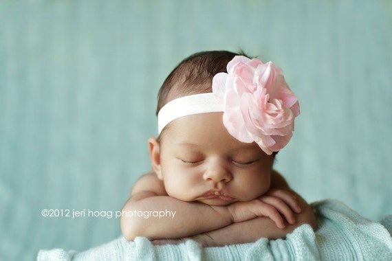 Light Pink Vintage Victorian Rose with Rhinestone Button Center on Pink and Brown Damask Elastic Headband (infant/toddler/girl)