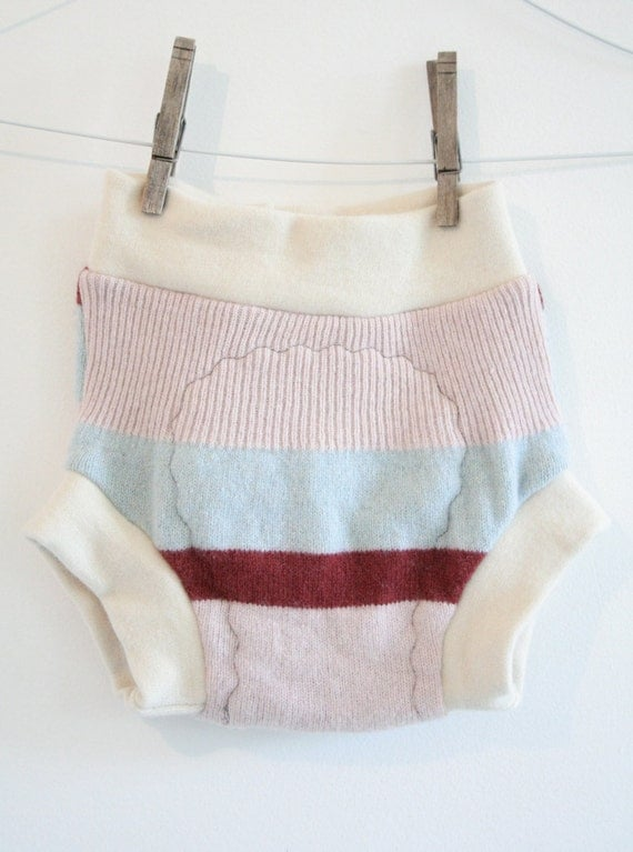 large cloth diaper cover - striped - pink baby blue maroon and cream - wool soaker -  extra wet zone layer