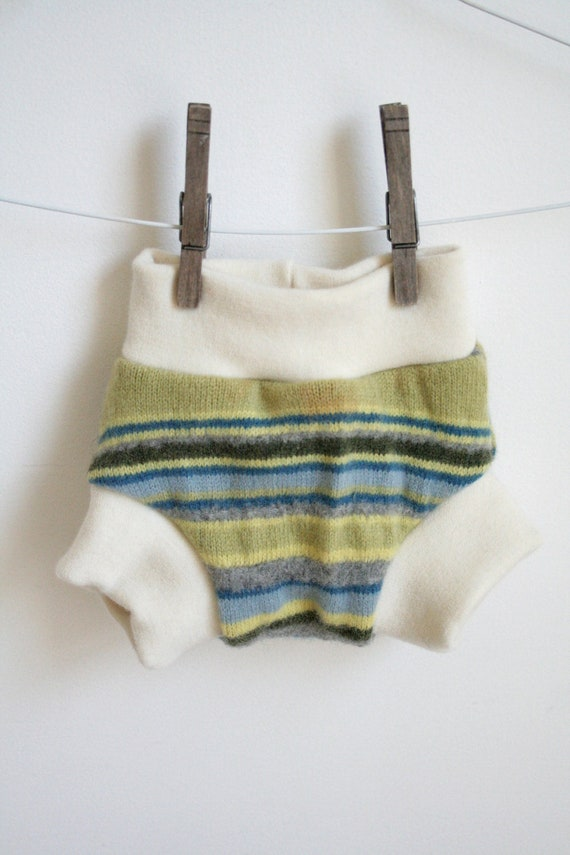 small soaker -- wool nappy cover -- pull on -- leak proof and bomb proof two full layers -- stripes