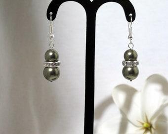 Double Olive Green Shell Pearl Earrings