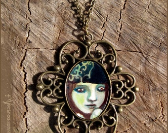 Green shelter illustrated necklace - faerie fairytale magic - illustrated jewelry