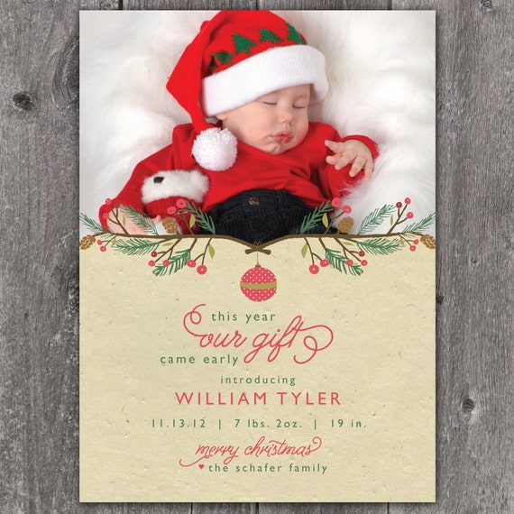 Early Gift Pine Bough DIGITAL Custom Christmas Holiday Birth – Holiday Birth Announcements