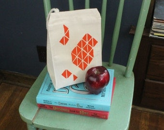 Recycled cotton lunch bag geometric triangle print with orange water based ink