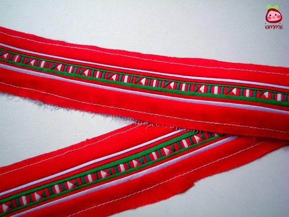 Hmong Fabric, sewn, lisu, lisu fabric, hill tribe, brown, red, green, white, Thailand, Thai, craft, quilt, textile, garment, stripe, iammie