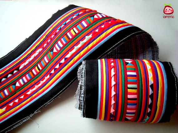 Black Textile, Fabric for Crafting, Lisu, Hmong, fabric craft, bag, quilt, clothes, textile, garment, stripe, wall, hill tribe, colorful