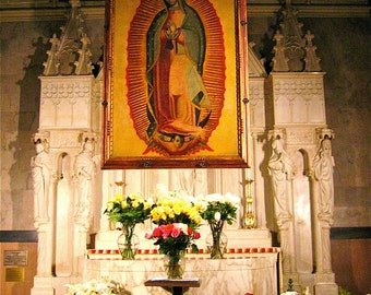 5x7 GUADALUPE Shrine -Original Fine Art Photograph- Stunning- St Patrick's Cathedral, NYC