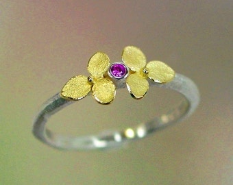 Sapphire Ring, Pink Sapphire Gemstone, Tiny Gold Flowers, Hydrangea Jewelry, Silver Flower Ring, 18k, Sterling Silver, Made to order