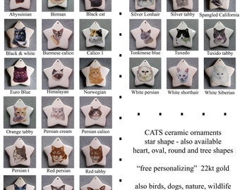 Cats star ornament, pull down menu select from 27 styles, free personalizing 22k gold by Nicole
