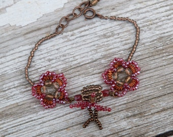 RUBIS Handmade French beaded bracelet Swallows & flowers