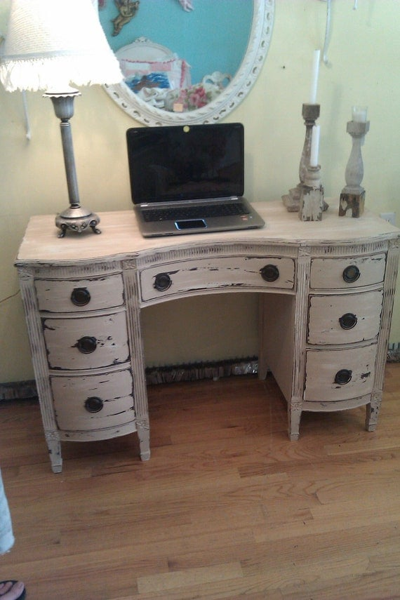 Vintage Desk Vanity Shabby Distressed Chic By