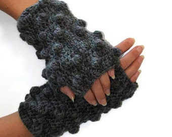 SPECAIL SALE - Bubble Gray, Grey Wool Trendy Crochet Fingerles Gloves