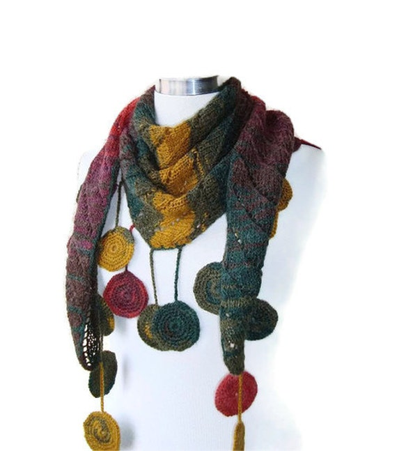 SPECIAL SALE -Degrade Green, Mustard Yellow, Dark Red Cashmere Mohair Baktus Shawl and Scarf