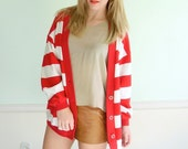 Candy Cane Stripe Vintage 80s Red and White V Neck Cardigan Sweater M/L