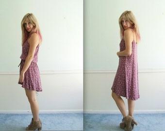 Ditsy Floral Fishtail Hem Mini Dress - Vintage 90s - M L