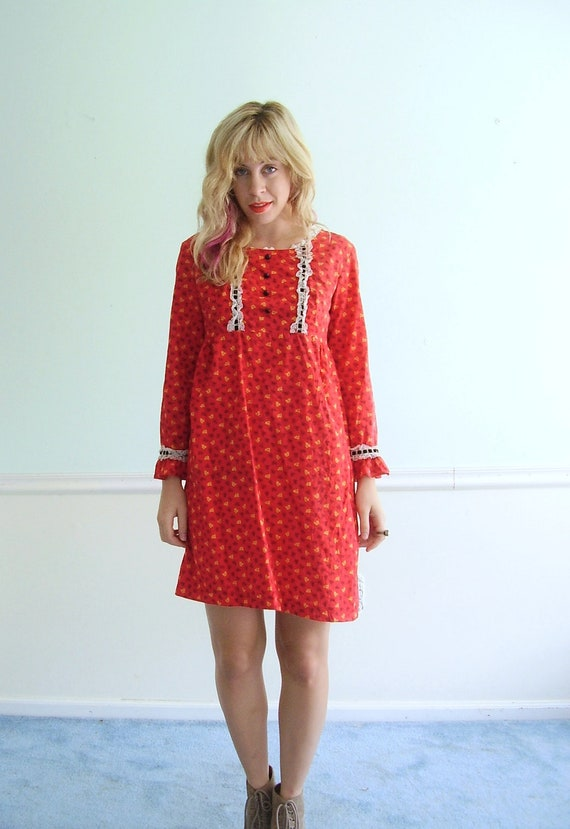 Favorite Things Vintage 60s LS Bright Red Woven Floral Printed Maxi Dress XS