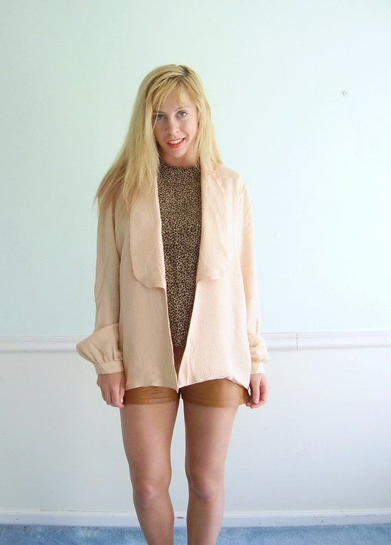 Blush Pink Silk Open Front Blazer Jacket Vintage 80s Slouchy Layering Top LARGE L