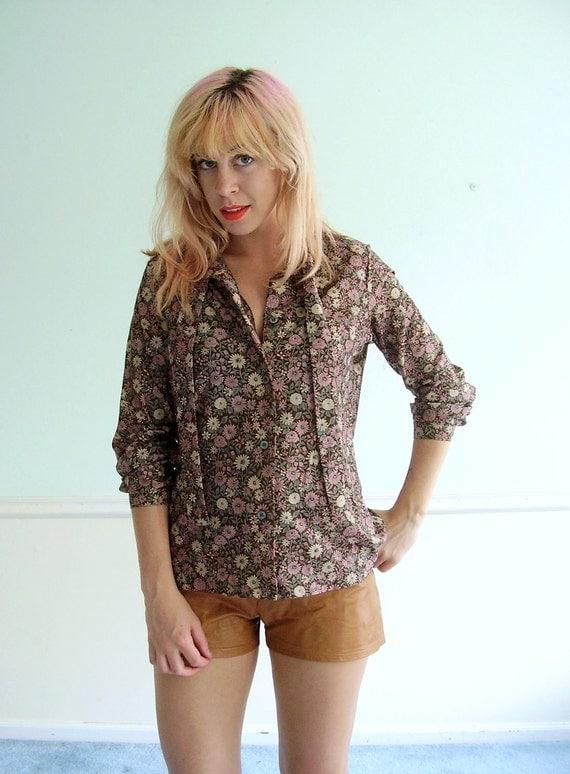 70s Floral Print Button Down Blouse - LS - Ascot Tie - SMALL MEDIUM S M