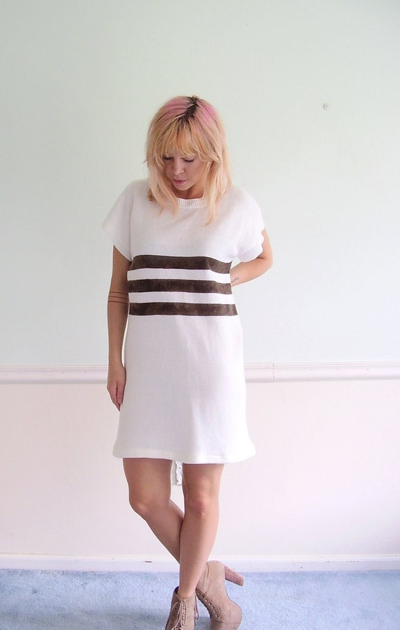 Sailor Stripe Mini Dress Vintage 80s Sweater Knit - Black and White - Nautical S  M