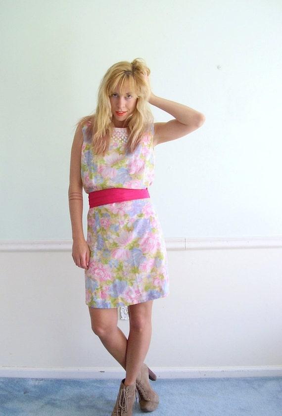 60s Pastel Floral Printed Mini Shift Dress MEDIUM M Vintage Spring