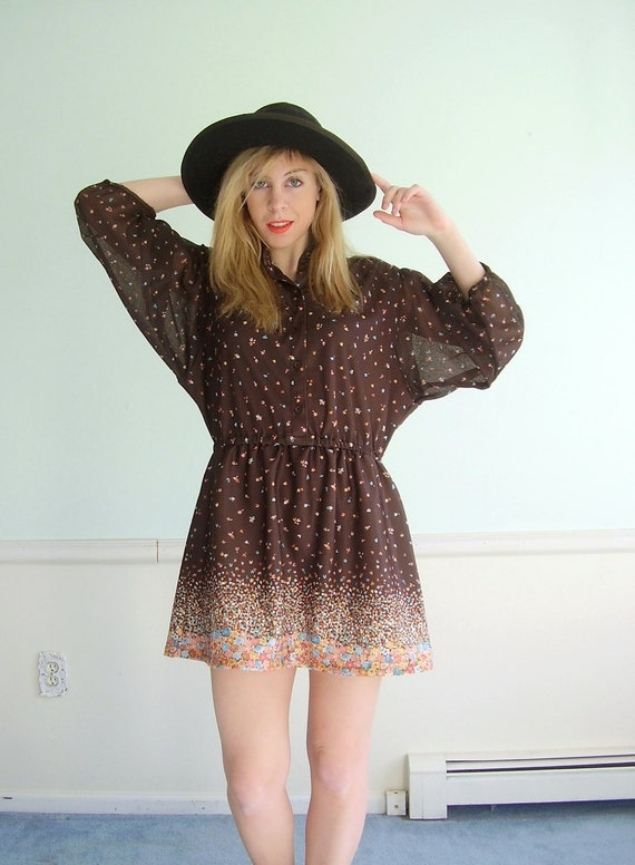 Favorite Things Vintage 70s LS Brown Floral Printed Mini Boho Dress LARGE L Petite P