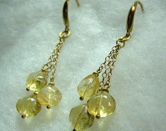Citrine Droplets in Gold Earrings OOAK - No Shipping Charge within the U.S.