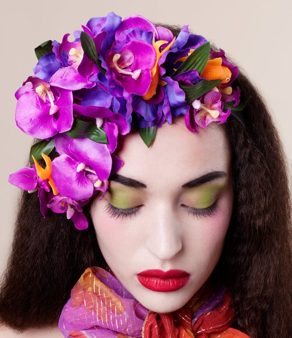 Orchids, Iris And Goldfish Headpiece