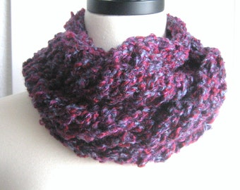 Everyday scarf, hand knitted, new, purple, maroon