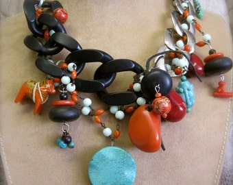 STONES and SPIRITS: Tribal Choker TOTEMS Colorful Stones Vintage Assemblage Statement Necklace Turquoise Frog Horse Protection Amulets
