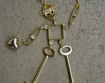 Besot Robot: Statement Robot Necklace Vintage Assemblage One of a Kind Articulated Figural Pendant HE Will Give You His Heart and the Stars