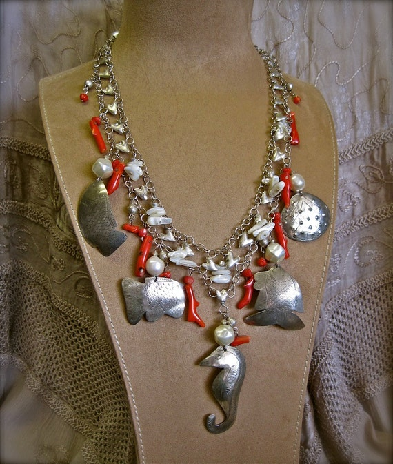 Ocean Carousel: Beachy Necklace Silver Sea Creatures with Red Coral Statement One of a Kind ooak