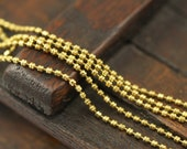 1 Meter - 3.3 Feet (1.3 mm) Solid Brass Chain with 2 pcs connector - Brs 9  Z076