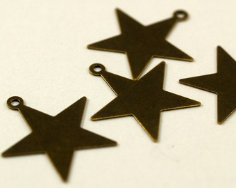 Vintage Star Charm, 20 Antique Brass Star Charms (23mm)   K156