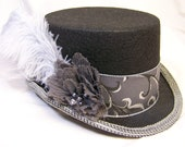 OOAK victorian steampunk riding hat full size TOP HAT gray for Amanda