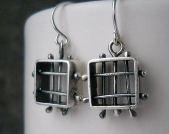 square medieval cage earrings, sterling silver,  box cage, hand crafted, metalwork, made to order