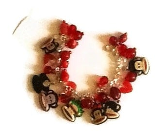 Monkeys altered art charm bracelet SALE