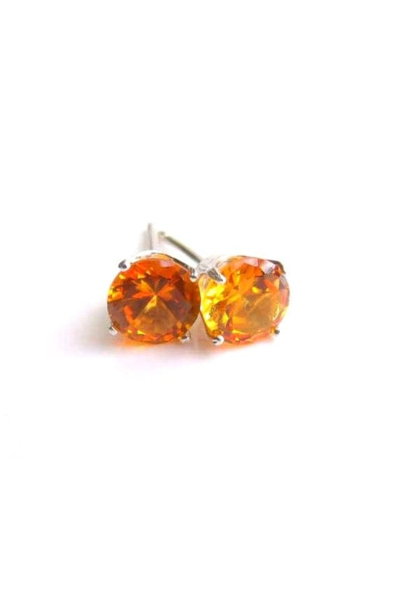 Yellow Sapphire Stud Earrings Sterling Silver Lab created 6mm