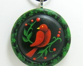 Wooden Pendant Necklace - Red Bird & Berries - One Of A Kind, Hand Painted