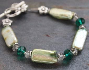 Green Pearl and Gemstone Bracelet