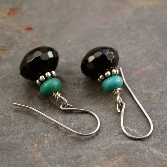 Turquoise and Black Onyx Earrings