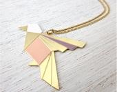 Origami Exotic Bird Necklace in Gold, bird pendant jewelry