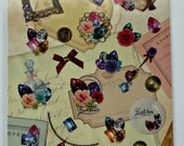 Cute Antique / Vintage Themed Plastic Stickers From Japan - Jewelry, Bracelet, Necklace, Pendant, Buttons, Photo Frame, Gems, Chest, Brooch