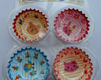 Cute Animals Round Polyethylene Lined Paper Cupcake Cups / Bento Liners - Bear, Bunny Rabbit, Bird, Kitten