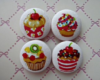 More Cute Cupcakes Pink Japanese Fabric Covered Buttons For Sewing - 22mm - Set of 4