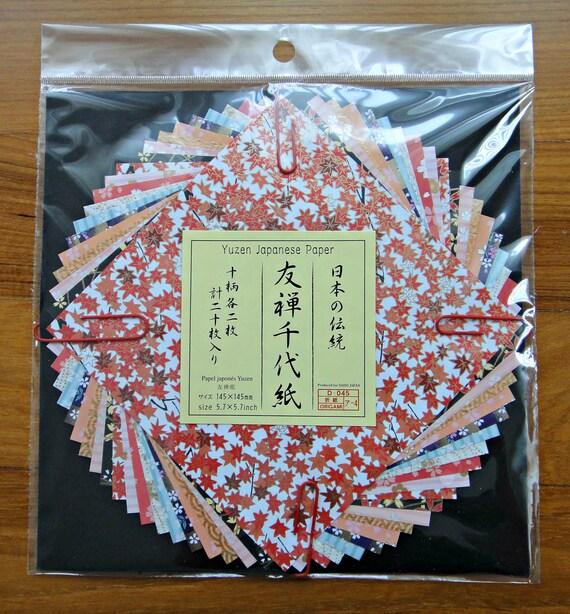 Beautiful Traditional Japanese Yuzen Chiyogami / Origami Paper Set - 20 Sheets - 10 Designs - Red, Black, Pink, Orange, Blue, White