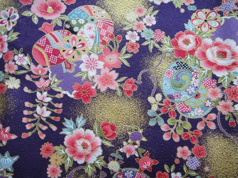 Beautiful Purple Traditional Japanese Kimono Design Cotton