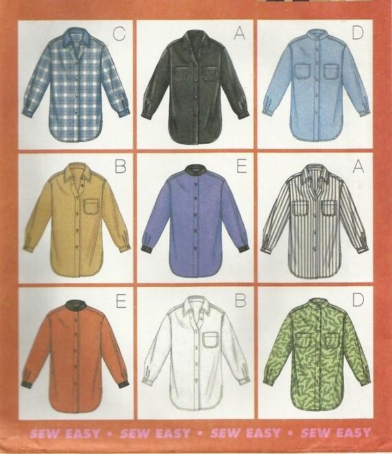 Oversized Shirt Pattern Size 20 22 24 Butterick 3198 Uncut