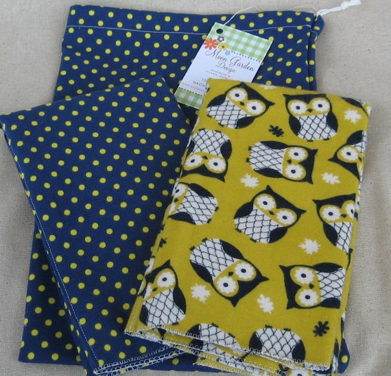 Flannel Burp Cloth Set in Owl and Polka Dot Prints - Gold and Navy in Matching Drawstring Bag