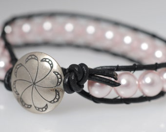Leather and Glass Pearl Bracelet